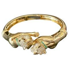 18 K Yellow Gold Twin Panther Bangle Diamonds Emeralds Ruby