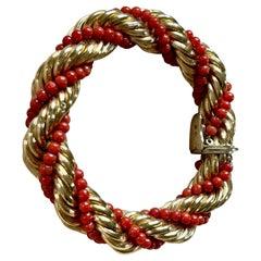 18 K Yellow Gold Vintage Coral Rope Torsade Bracelet