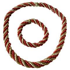 18 K Yellow Gold Vintage Coral Rope Torsade Necklace Bracelet