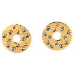 18 Karart Gold Blu Sapphire Earrings