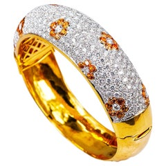 18 Karart Gold Yellow Sapphire Flower and Diamond Bangle