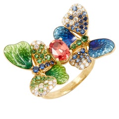 18 Karat 0.8 Carat Spinel Enamel Butterfly Ring with Yellow and White Diamond