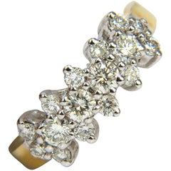18 Karat 1.00 Carat Diamonds Cluster Band Ring Excellent Cuts