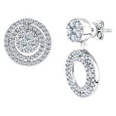 18 Karat 1.00ct Round Brilliant Diamond Fancy Cluster Drop Studs Earrings
