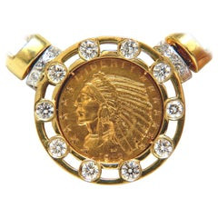 18 Karat 105 Gram 1912 Indian Head BLP Fine Coin 6.10 Carat Diamond Necklace