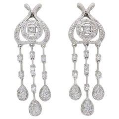 18 Karat 1.07 Carat Diamond Chandelier Earrings