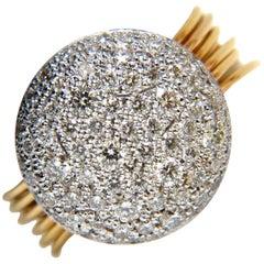18 Karat 1.36 Carat Multi Bands Bead Set Modern Deco Diamond Ladies Ring