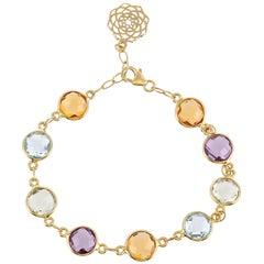 18 Karat 17.12 Carat Multi Round Briolettes Simple Bracelet