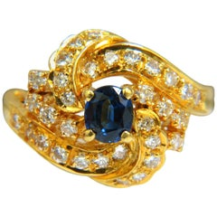 18 Karat 1.75 Carat Fine Gem Sapphire Diamond Cocktail Ring