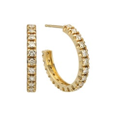 18 Karat 1.80 Carat Diamond Gold Tapered Half Hoop Earrings