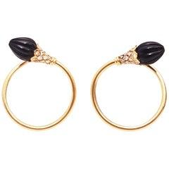 18 Karat 1950s Fluted Onyx and Diamonds Pierced Hoop Earrings