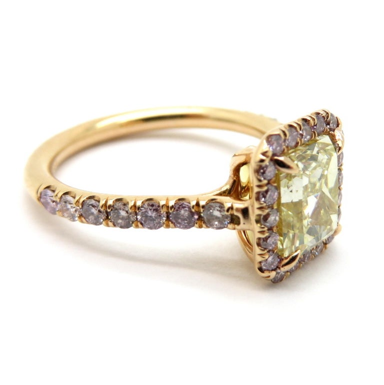 97f4a82f25e 18 Karat 2 Carat Yellow Radiant Cut Diamond and Pink Diamond Halo Ring