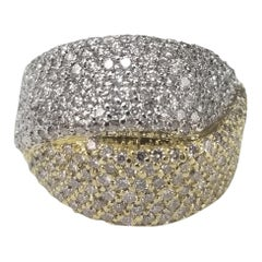 18 Karat 2-Tone 4.15 Carat Diamond Pave' Ring