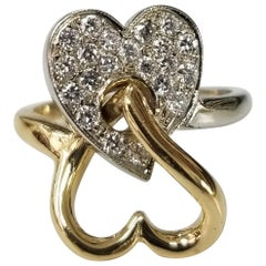 18 Karat 2-Tone Diamond Heart Ring Double Heart