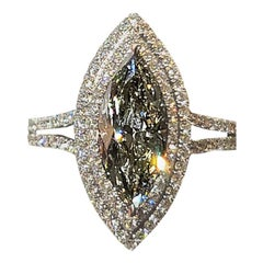 18 Karat 2.12 Carat Rare Chameleon Fancy Gray-Yellowish Green Diamond Ring