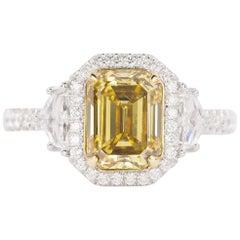 18 Karat 2.26 Carat Fancy Deep Yellow Diamond Ring