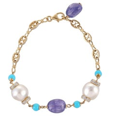 18 Karat 23.55 Carat South Sea Pearl Tanzanite Turquoise Diamond Link Bracelet