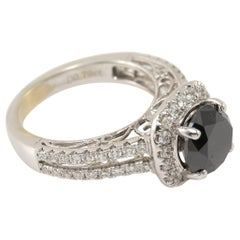 18 Karat 3.28 Carat Round Black Diamond Engagement Ring White Gold