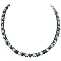 18 Karat 33.68 Carat Natural Top Gem Sapphire Diamond Necklace Best Eternity