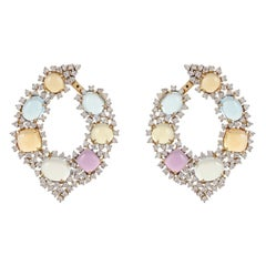 18 Karat 38.31 Carat Multi-Color Cobochons Diamond Wraparound Earring