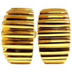 18 Karat 3D Regency Deco Grill Form Earrings Omega