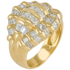 18 Karat 4.00 Carat Invisible Set Princess Cut and Baguette Diamond Ring