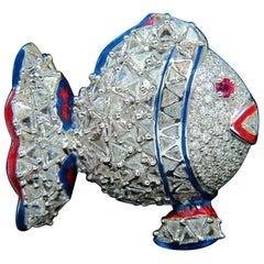 18 Karat 5.00 Carat 3D Fish Triangle and Round Diamonds Pendant Pin Excellent