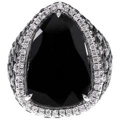 18 Karat 5.10 Carat Black Diamond Cocktail Ring