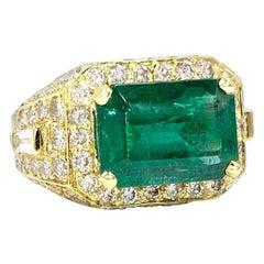 18 Karat 5.87 Carat Emerald and Diamond Cocktail Ring