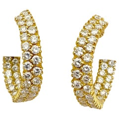 18 Karat 7.65 Carat Marquis Shaped Diamond Hoop Earrings