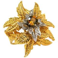 18 Karat .77 Carat Natural Gem Yellow-Orange Sapphire Diamond Ring 3D Fern