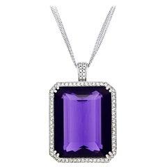 18 Karat 83.00 Carat Emerald Cut Purple Amethyst Pendant