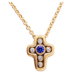 Yellow Gold Alex Sepkus Diamond, Sapphire Cross Pendant