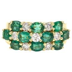 18 Karat Alternating Emerald and Diamond Wide Ring
