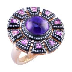18 Karat Amethyst Special Cut Sapphire Diamond Theodora Cocktail Ring