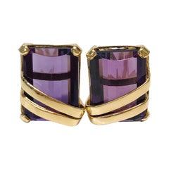 18 Karat Amethyst Stud Earrings