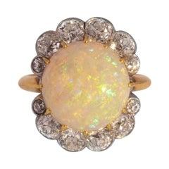18 Karat and 1.75 Carat Old European Cut Diamond and 4 Carat Opal Ring