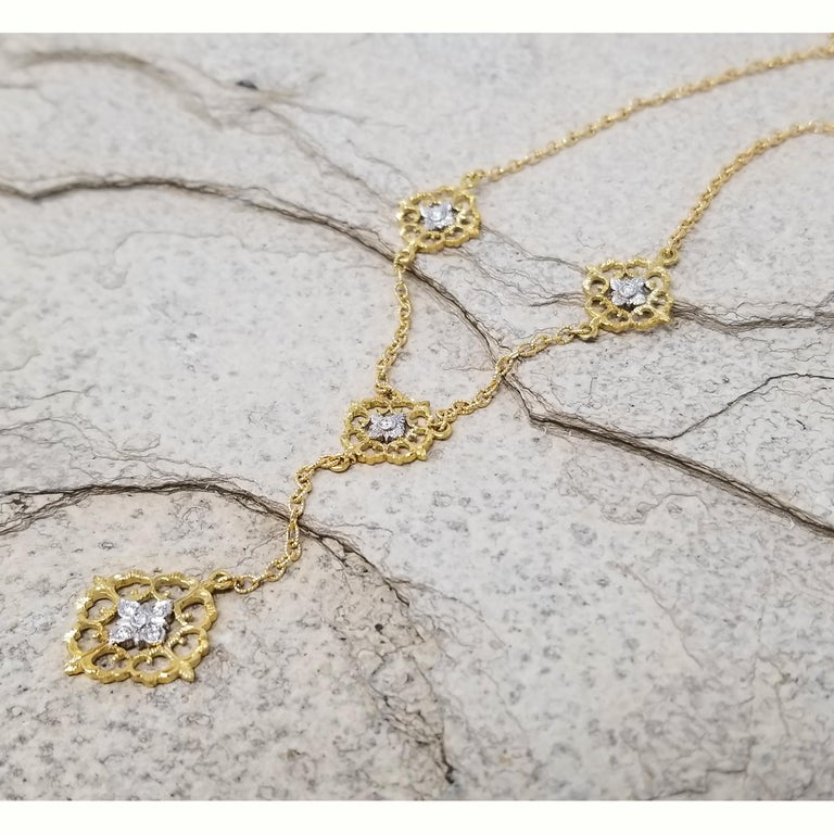 The Vittoria Drop Necklace is built around elegantly crafted medallions set with bright and lively diamonds. This