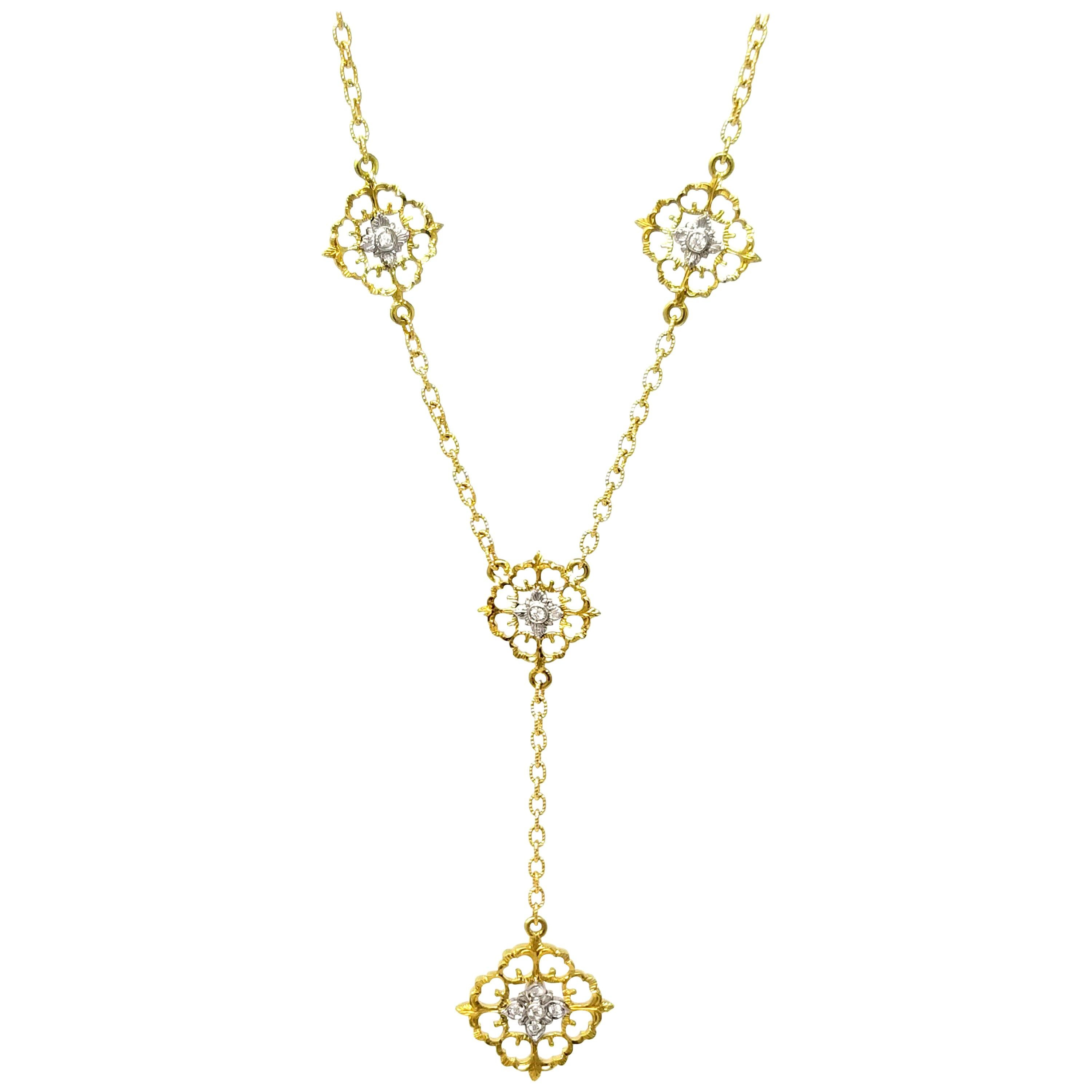 18 Karat and Diamond Hand-Engraved Necklace Handmade in Florence, Italy