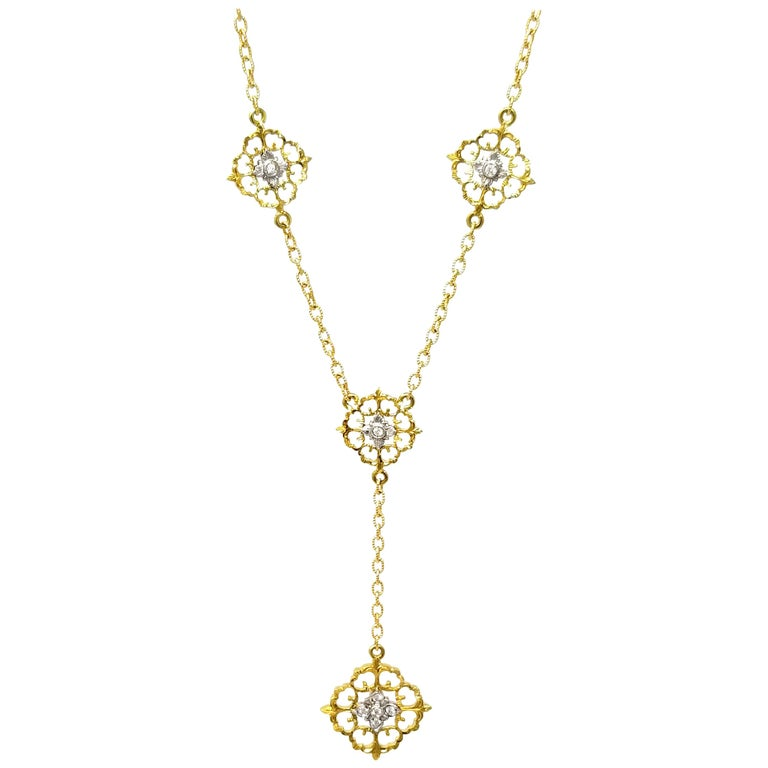18 Karat and Diamond Hand-Engraved Necklace Handmade in Florence, Italy For Sale