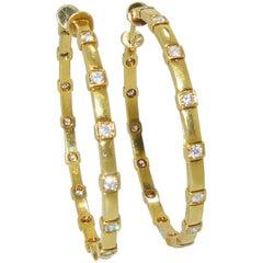 18 Karat and Diamond Large Hoop Earrings