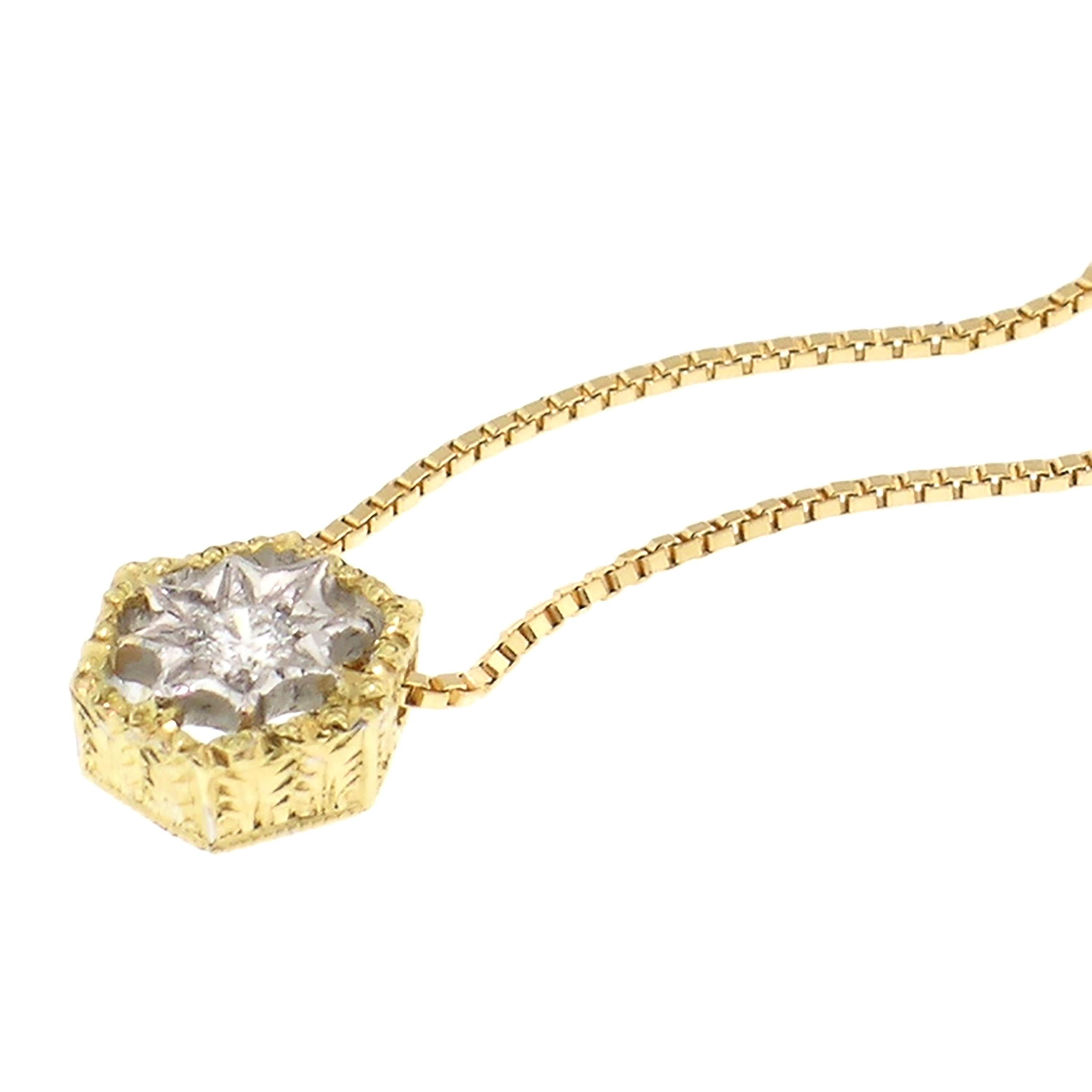 18 Karat and Diamond Pendant Necklace, Handmade and Hand Engraved in Italy