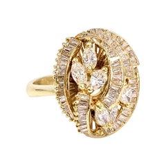 18 Karat and Diamond Vintage Swirl Ring