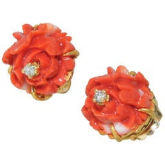 18 Karat and Fine Natural Coral and Diamond Earrings