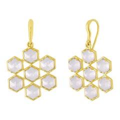18 Karat and Lavender Moonstone Hexagon Drop Earrings
