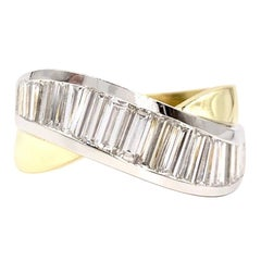 18 Karat and Platinum Baguette Diamond Curved Ring