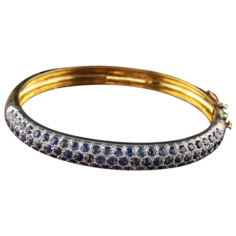 Vintage 18K Yellow Gold Sapphire Bangle For Sale