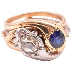 18 Karat and Platinum Diamond and Sapphire Snake Ring, circa 1900