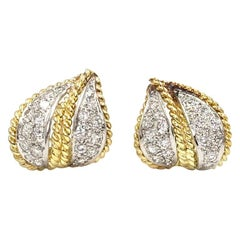 18 Karat and Platinum Diamond Leaf Motif Huggie Earrings