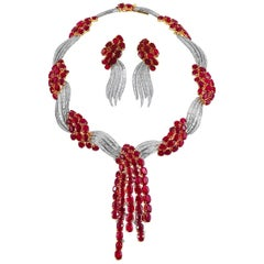 18 Karat and Platinum Diamond, Ruby Necklace and Earrings